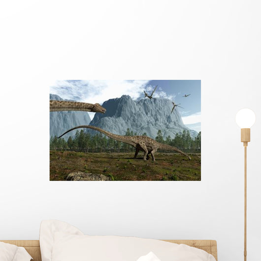 Diplodocus Dinosaurs Graze While Wall Decal