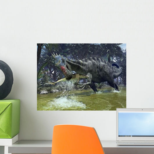 Suchomimus Snags Shark from Wall Decal