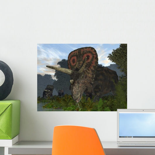 Male Torosaurus Drinks from Wall Decal