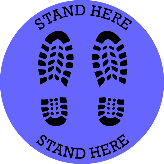 Stand Here Footprint Floor Decal | 14""