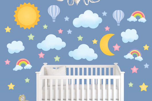 Dreamy Sun Moon Stars and Clouds Wall Decal