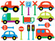 Baby Vehicles and Street Signs Wall Decal