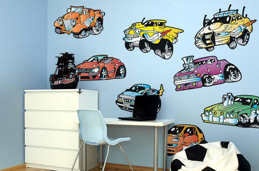Classic Monster Muscle Cars Wall Decal Sticker Set Wall Decal