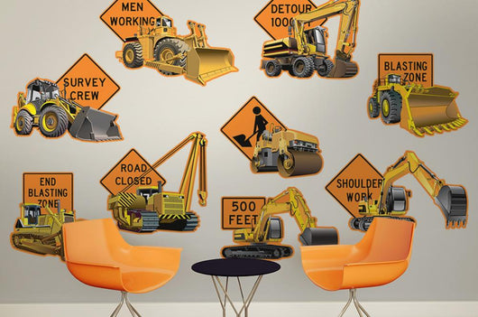 Construction Vehicles with Road Wall Decal Sticker Set Wall Decal