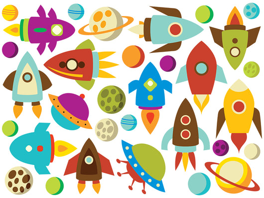 Baby Space Ships and Planets Wall Decal