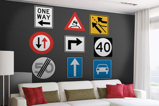 Assorted Road Signs Wall Decal Sticker Set Wall Decal