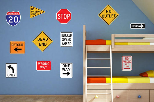 Assorted Street Sign Collection Wall Decal Sticker Set