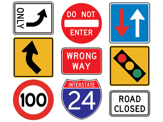 Assorted Street Signs Wall Decal Sticker Set Wall Decal