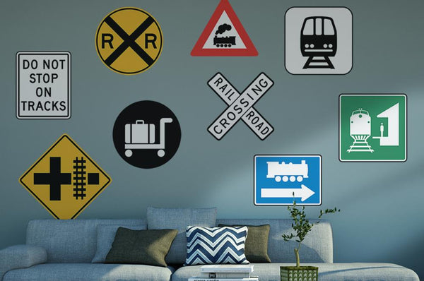 Peel And Stick Curved Train Tracks Stickers Decals Removable Wall Art Black Wall Decor Amazon Com