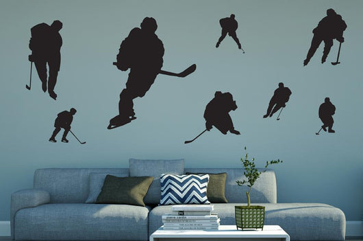 Assorted Hockey Silhouettes Wall Decal Sticker Set Wall Decal