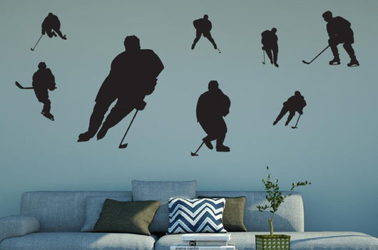 Assorted Ice Hockey Silhouettes Wall Decal Sticker Set Wall Decal