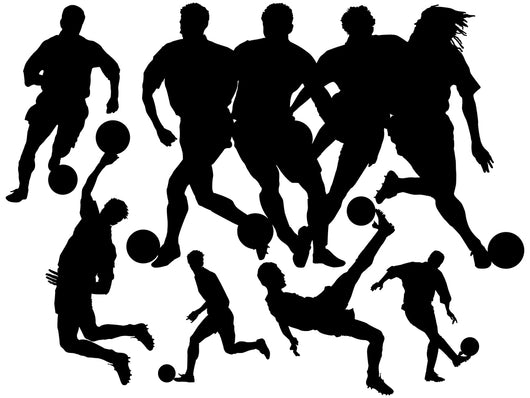 Black Soccer Silhouettes Wall Decal