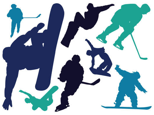 Colorful Winter Sports Silhouettes Wall Decal Sticker Set Wall Decal