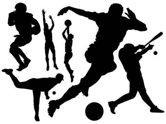 Black Assorted Sports Silhouettes Wall Decal