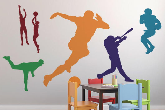 Colorful Assorted Sports Silhouettes Wall Decal