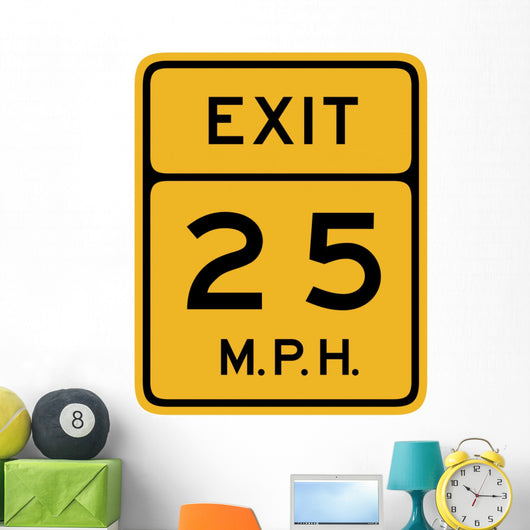 Advisory Speed Exit Sign Wall Decal