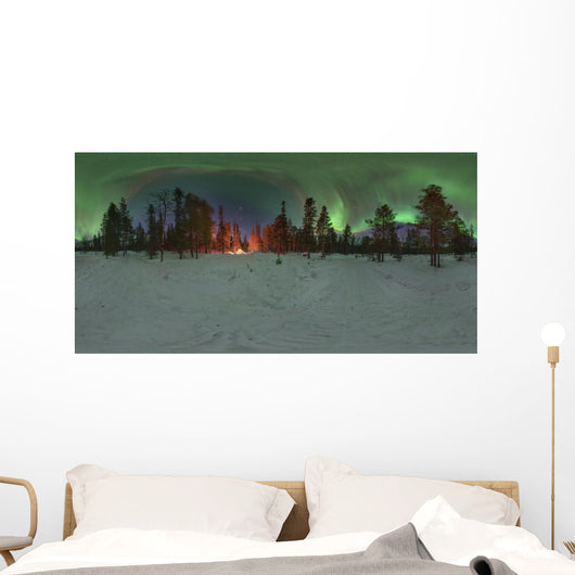 Aurora over Winter Forest Wall Decal