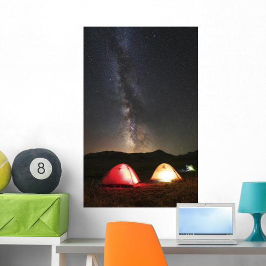 Glowing Tents under Milky Wall Decal