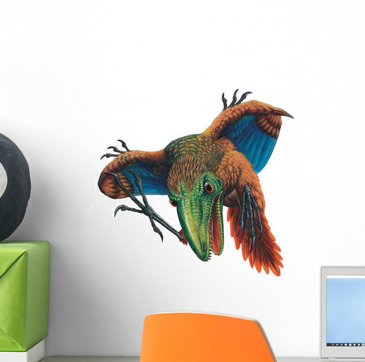 Attacking Archaeopteryx Feathered Dinosaur Wall Decal