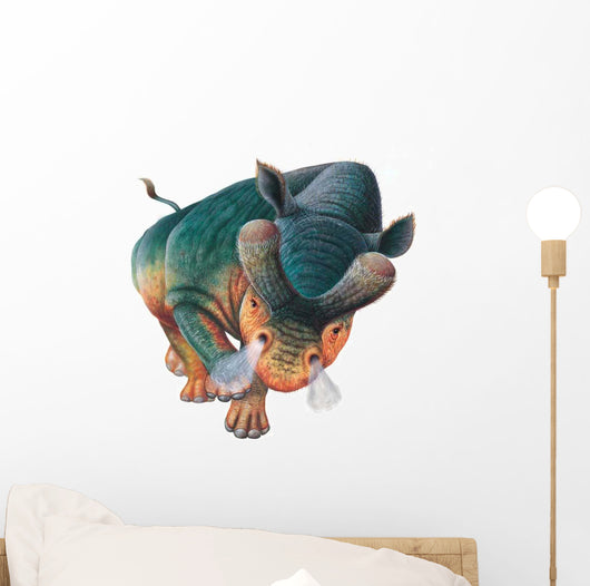 Charging Brontotherium Dinosaur Wall Decal