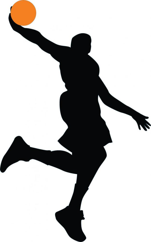 Dunking Basketball Player Silhouette Wall Decal