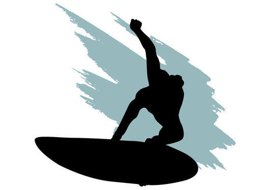 Surf Silhouette Grey Wave Wall Decal