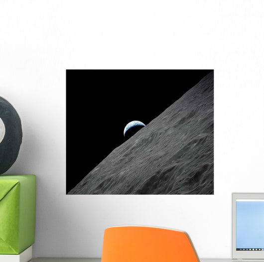 Crescent Earth Rises above Wall Decal