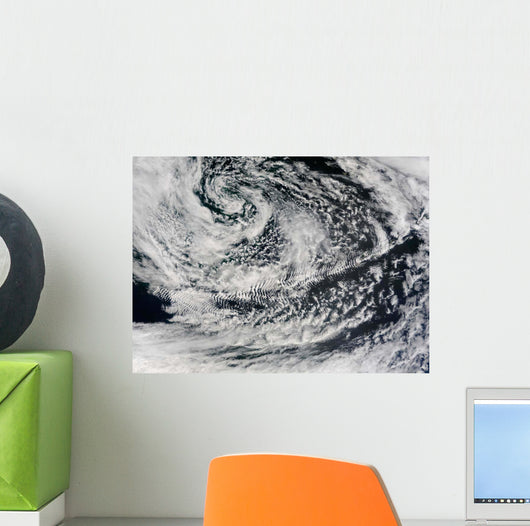 Ship-wave-shaped Wave Clouds Induced Wall Decal