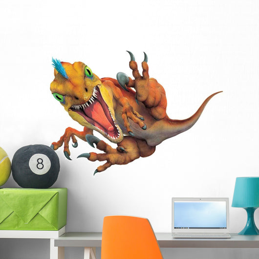 Troodon Leaping at Viewer Wall Decal