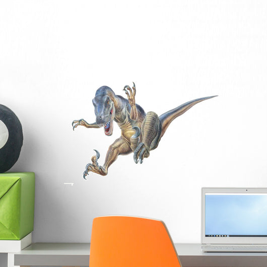 Velociraptor Leaps Onto Its Prey Wall Decal