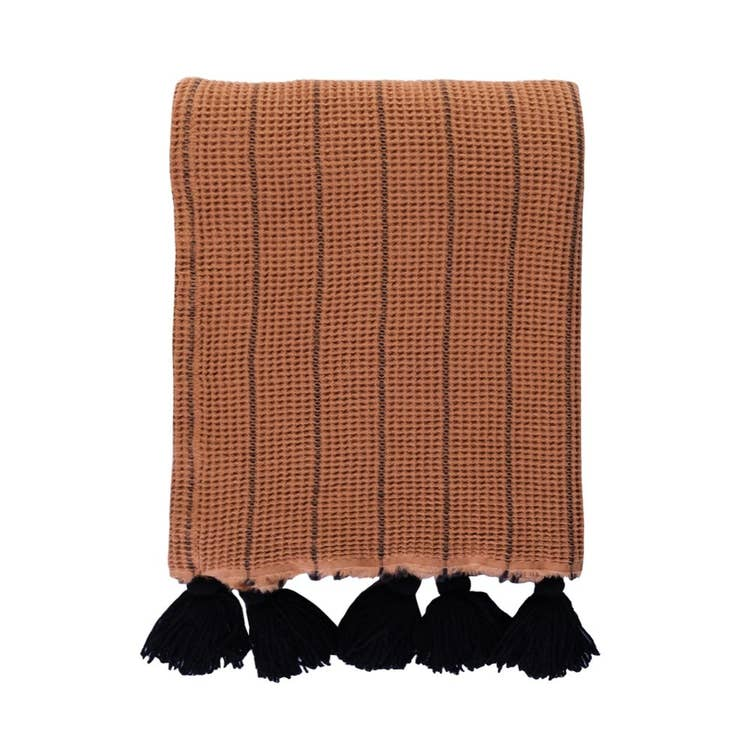 Sahara Throw Blanket w/ Pom Tassels - Desert Rust