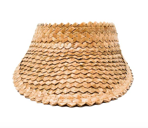 Bali Straw Woven Visor - Caramel, Black, Natural