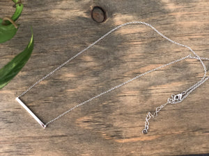 White Gold Dipped Silver Bar Necklace