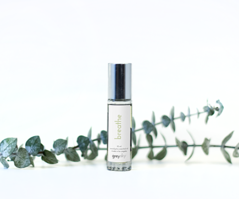 Grey Sky Savasana Breathe - Eucalyptus essential oil blend & jade gemstone roller