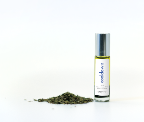 Grey Sky Cooldown - Peppermint essential oil blend & sodalite gemstone roller