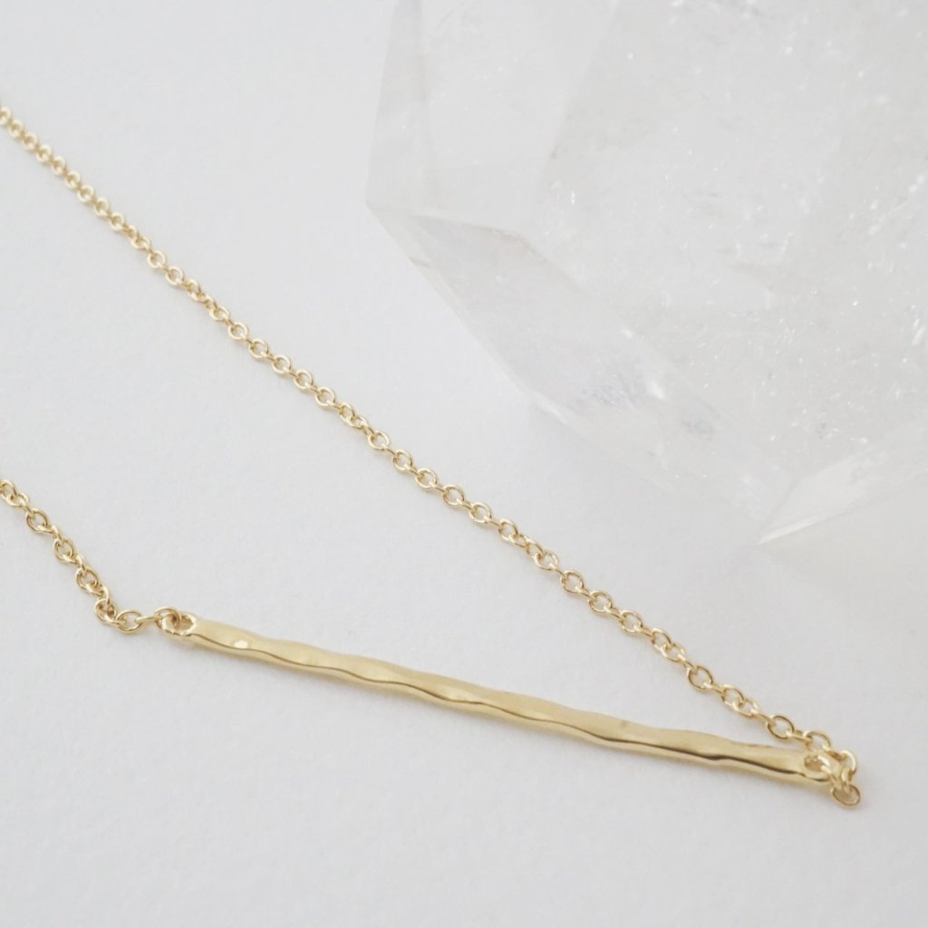 HoneyCat Hammered Classic Bar Necklace