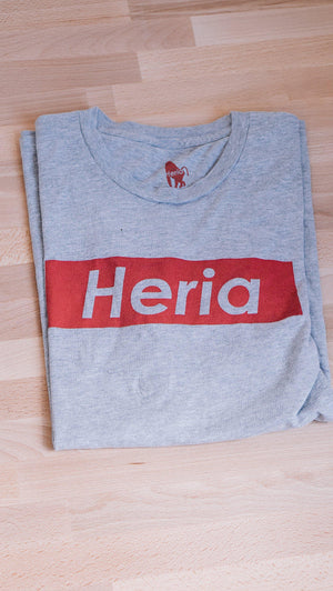 <i><strong>Heria</strong></i>  | Red on Athletic Grey T-Shirt