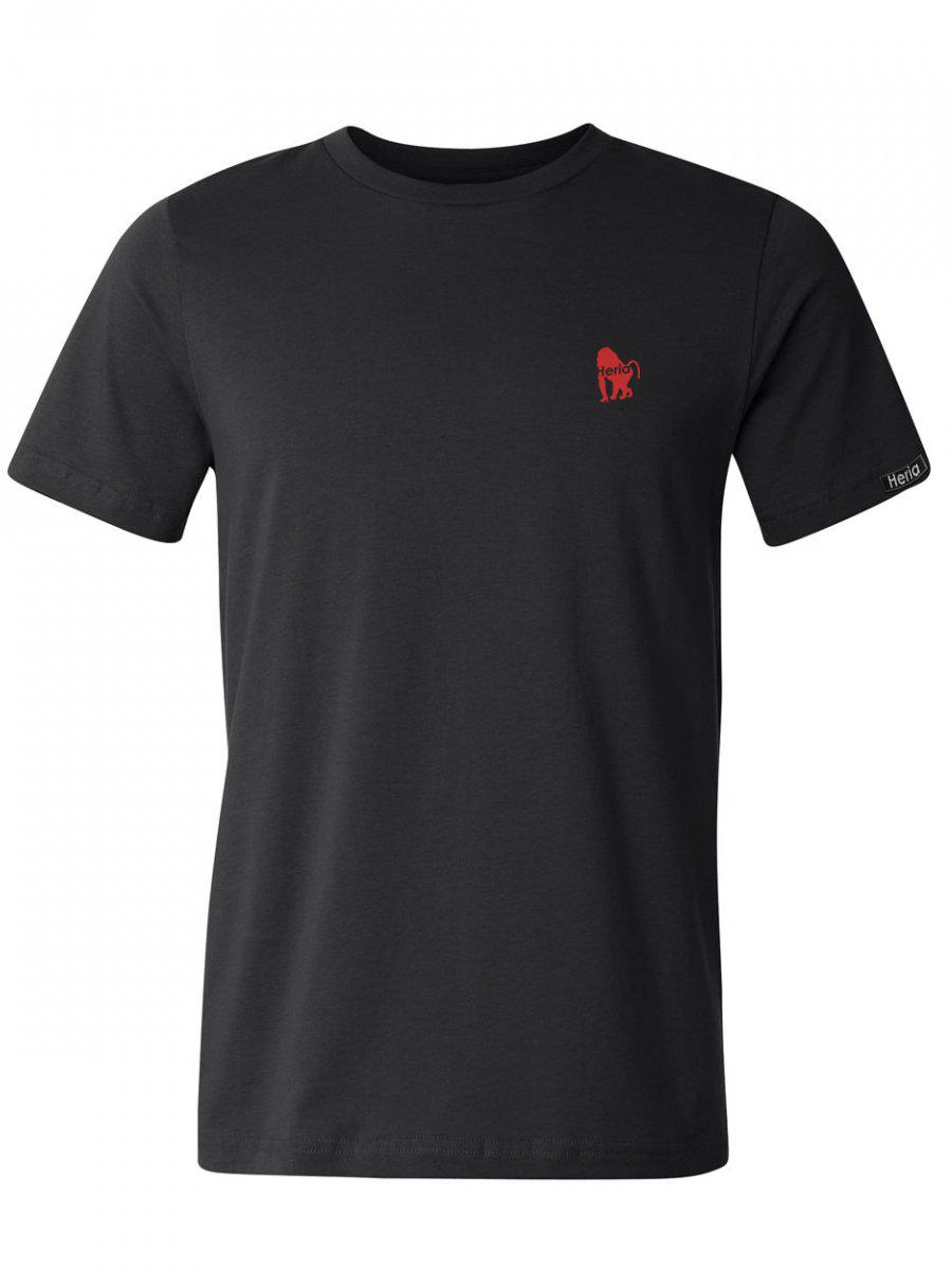 Red Baboon on Black T-Shirt