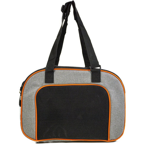 Grey Orange Trim Dog Cat Pet Carrier - jenzys.com