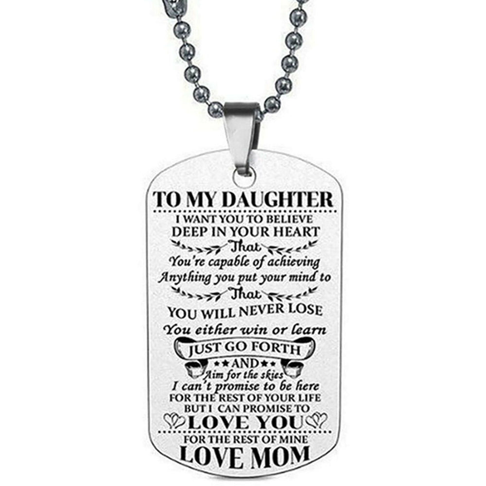To My Daughter Dog Tag Necklace - jenzys.com