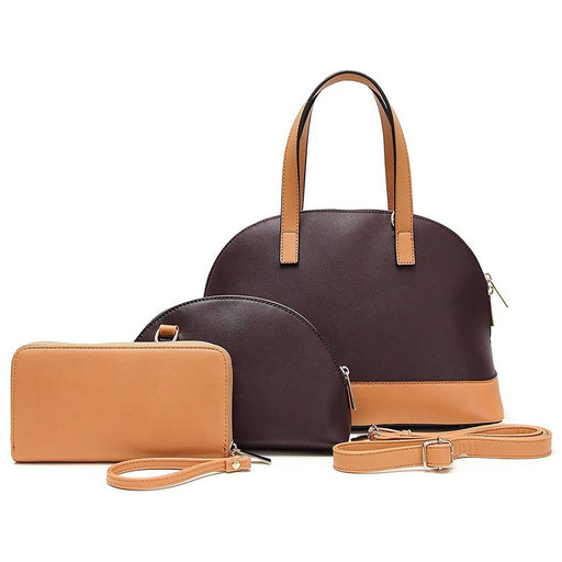 Hue and Ash Top Handle Satchel Handbag Wallet Set