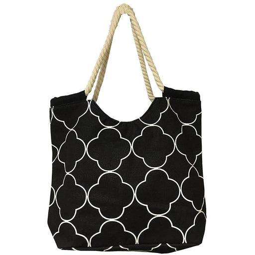 Quatrefoil Tote Bag With Rope Handles - jenzys.com