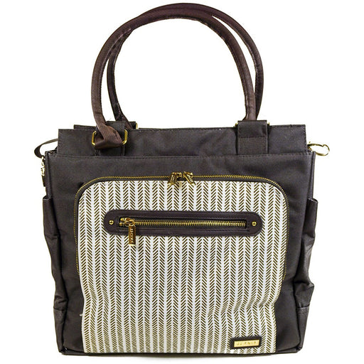 JJ Cole Brown Cream Herringbone Diaper Bag - jenzys.com
