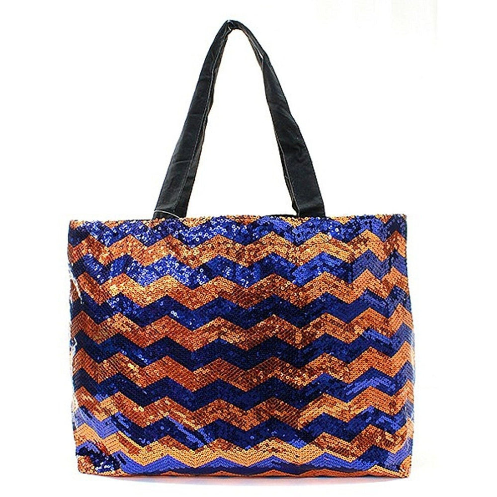 NGIL Chevron Sequin X Large Tote Bag - jenzys.com