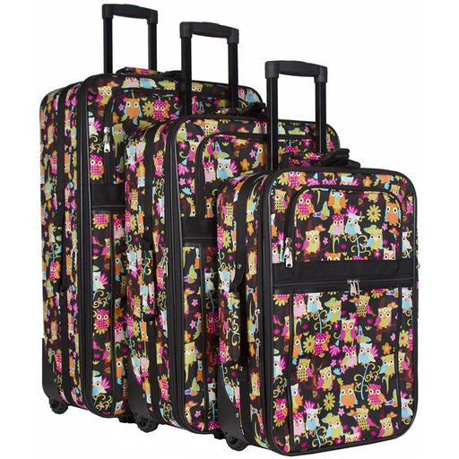 Owl Print Luggage Set - jenzys.com