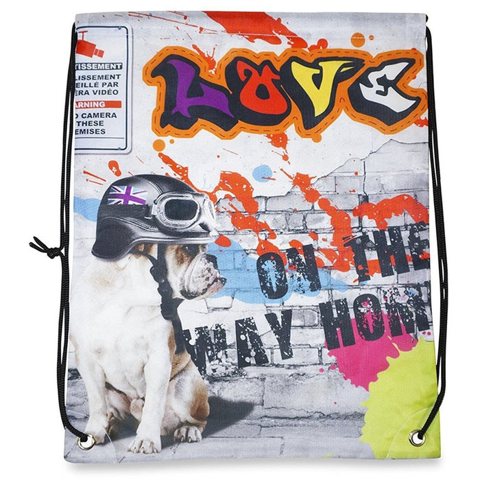 Bull Dog Drawstring Backpack