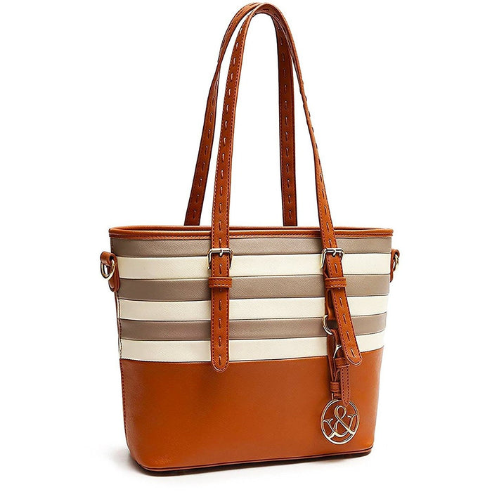 Hue and Ash Striped Top Handle Handbag - jenzys.com