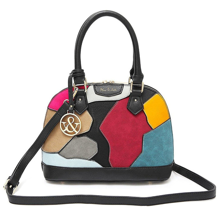 Hue and Ash Top Handle Patchwork Handbag - jenzys.com