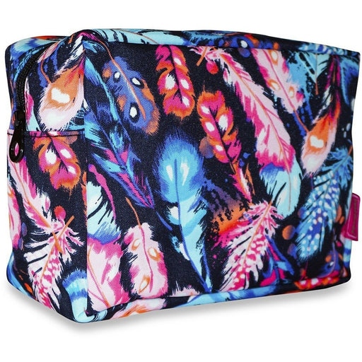 Ever Moda Peacock Feather Print Cosmetic Pouch