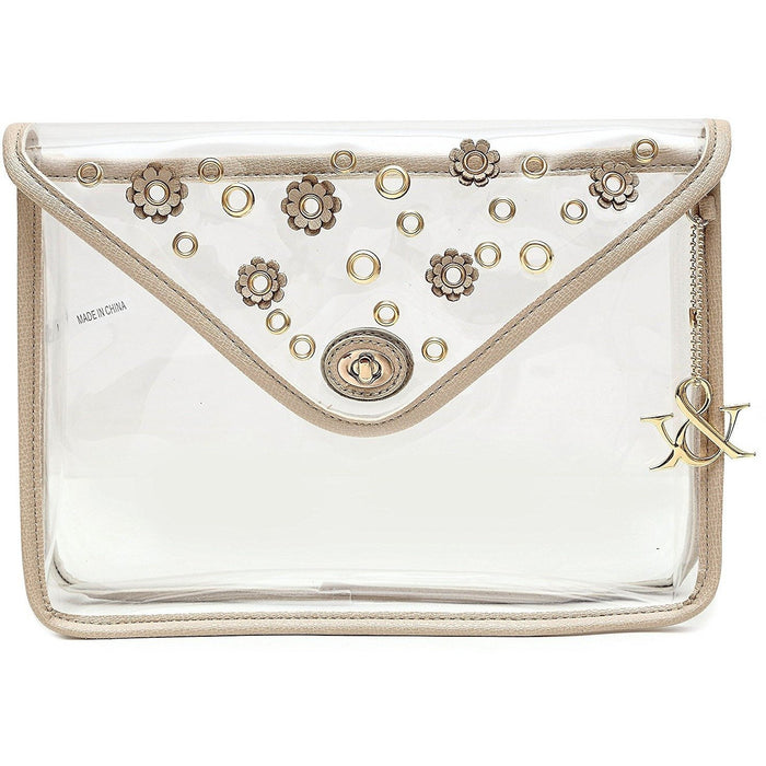 Hue & Ash Clear Flower Clutch - jenzys.com